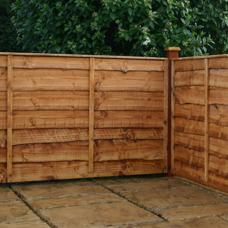 Waney-Lap Brown Treated Fence Panels - 3x6 ft., 4x6 ft., 5x6 ft